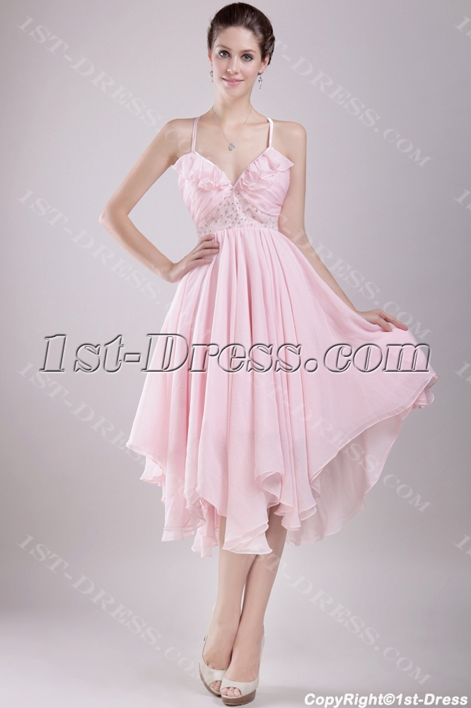 Short Pink Wedding Dresses For The Beach With Backless Free Shipping