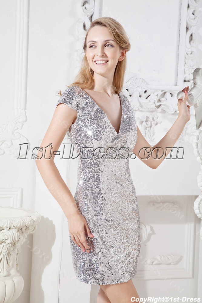 d88475fabc7 Silver Sequins Short Cocktail Party Dress with Cap Sleeves 1st-dress.com