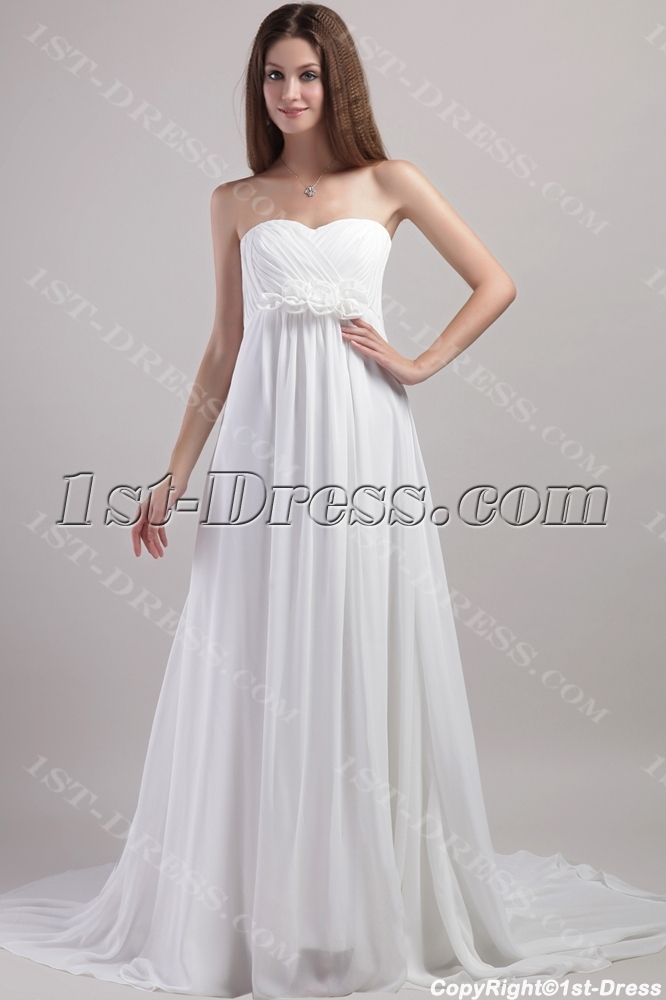 Pregnant Wedding Dress.Simple Chiffon Pregnant Wedding Dress With Empire 1958