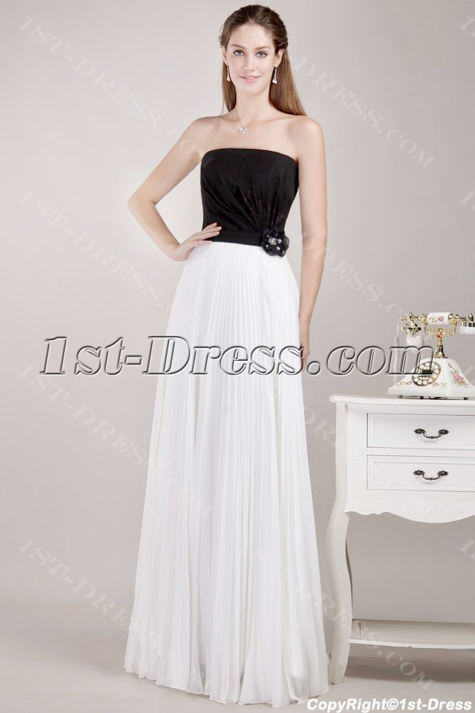 Simple White and Black Plus Size Prom Dress:1st-dress.com