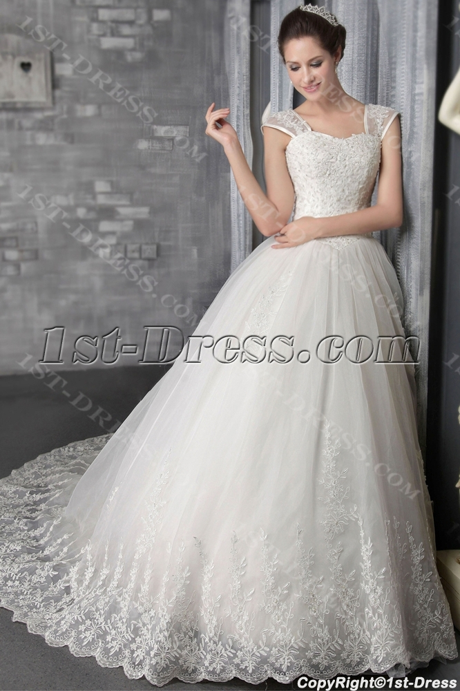 Spring 2014 Ivory Luxury Lace Princess Bridal Gown 2555. Loading Zoom