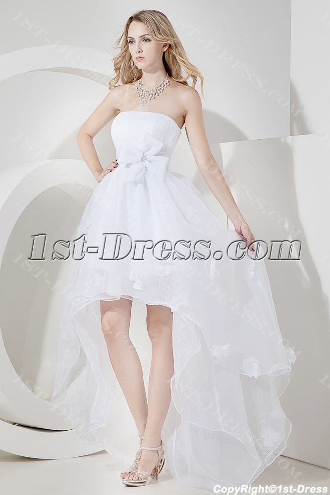 Strapless high low beach wedding dress casual 1st for Free wedding dresses low income
