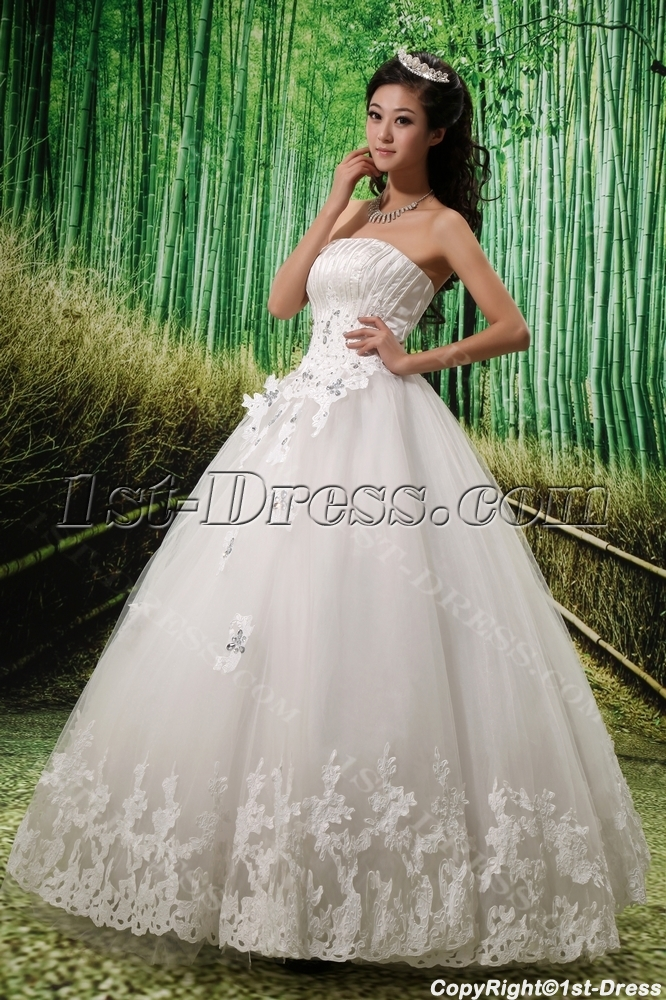 Strapless Satin Tulle Wedding Dress With Ruffle Lace Beadwork