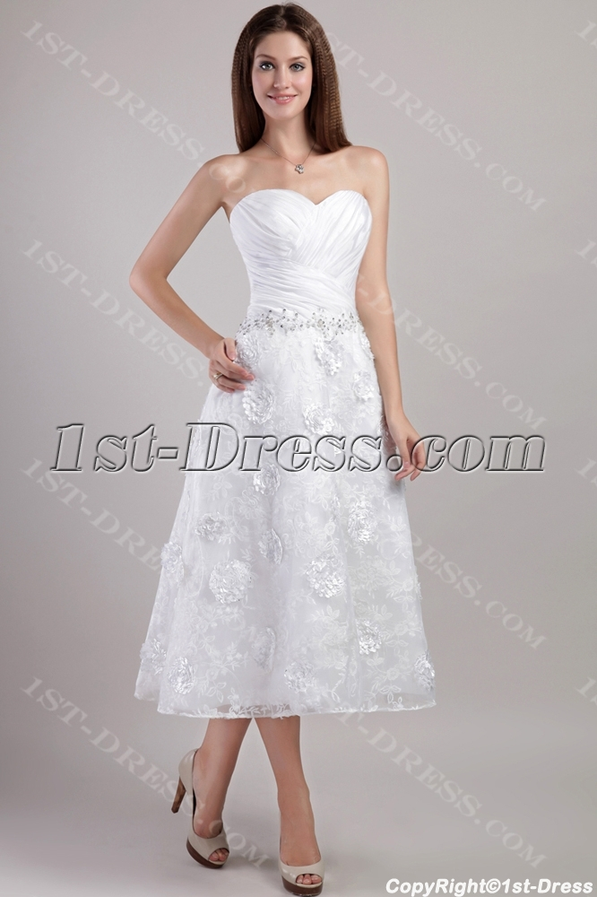 Sweetheart Tea Length Bridal Gowns with Floral