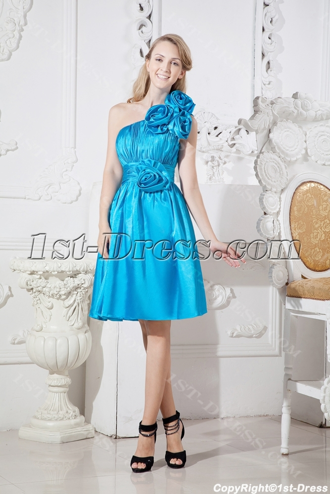 Turquoise Blue One Shoulder Junior Prom Dress with Floral:1st-dress.com