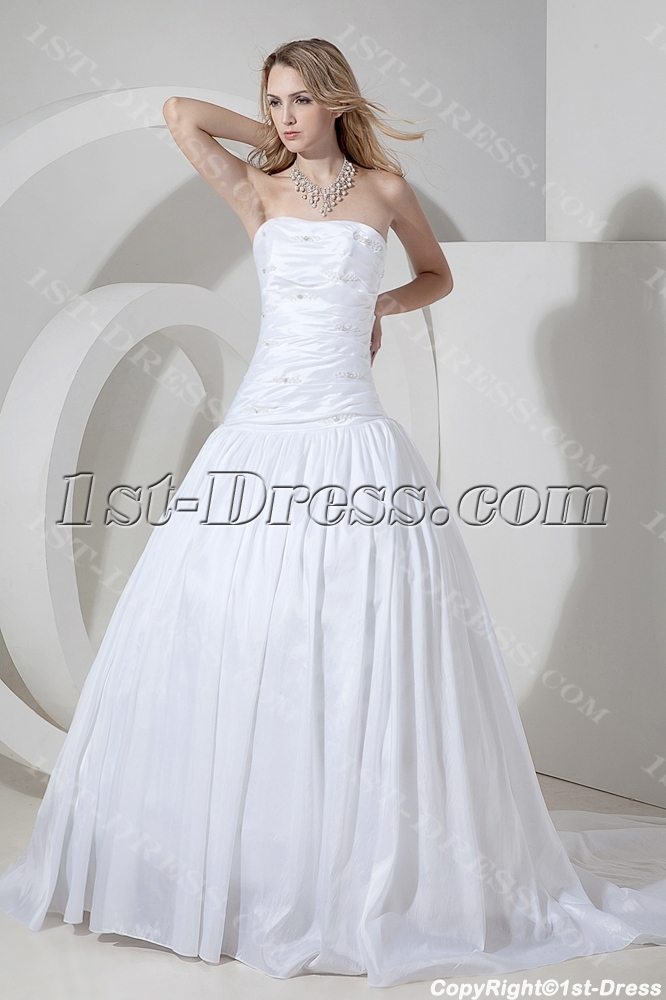 White Cheap Ball Gown Wedding Dress With Train1st Dress