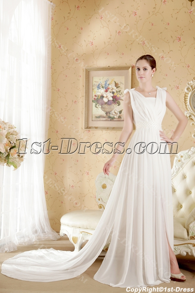 White Informal Beach Wedding Dresses Casual1st Dress