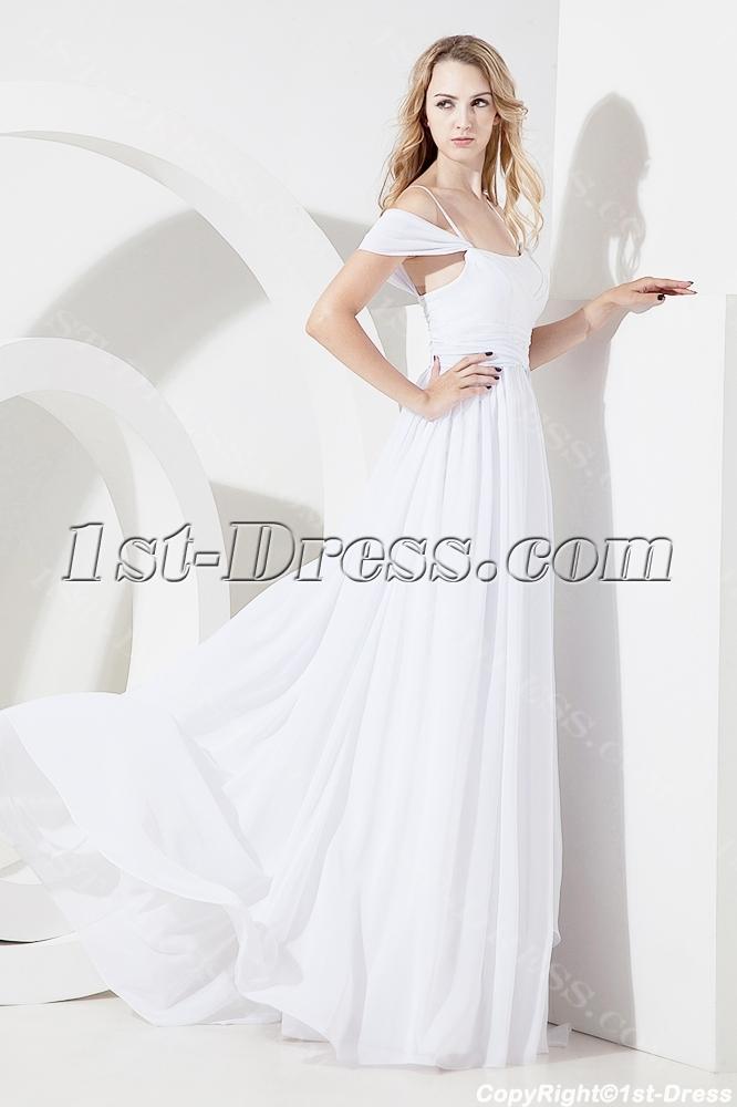 White Off Shoulder Beach Wedding Dress For Plus Size1st Dress