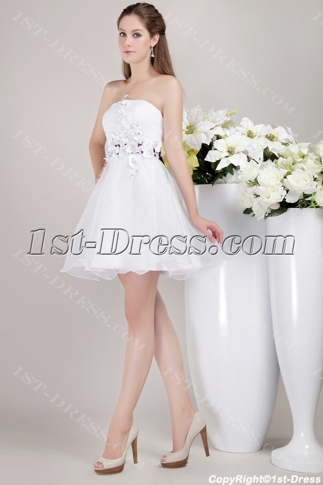 White Sweet 16 Dress Short with Floral:1st-dress.com