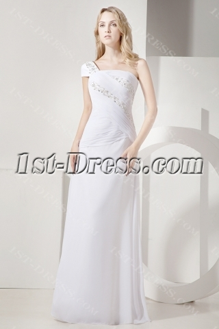 2012 Unique Ivory Long Evening Gown with One Sleeve