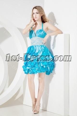 2013 Blue Halter Quinceanera Gown Short