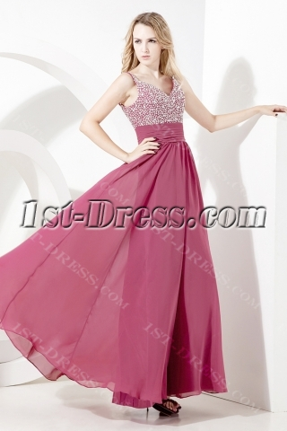 Bead Chiffon Ankle Length Plus Size Prom Gown:1st-dress.com