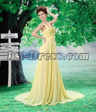 Beautiful A-Line One Shoulder Chiffon Elastic Silk-like Satin Evening Dress