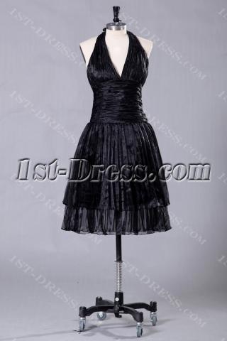 Black Halter Short Beach Bridesmaid Dresses