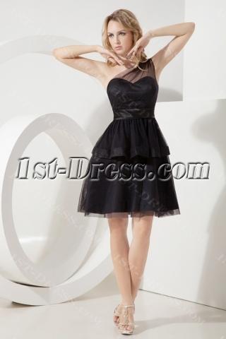 Black One Shoulder Juniors Formal Dresses