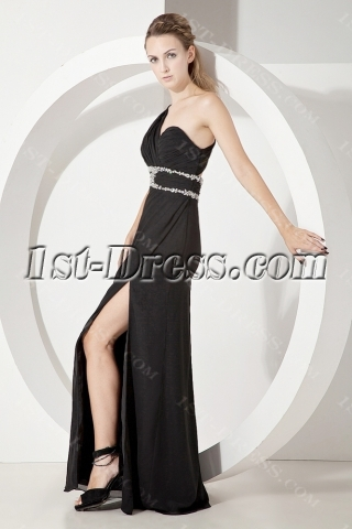 Black One Shoulder Sexy Formal Evening Gown