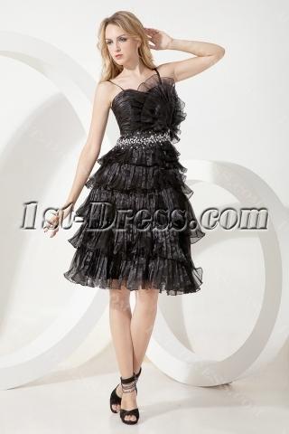 Black Popular Tea Length Junior Prom Dress