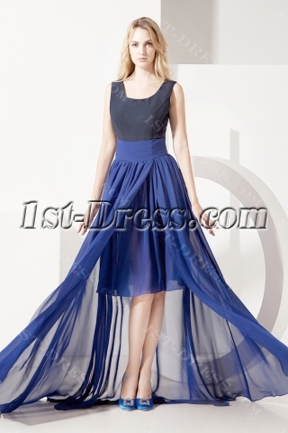 Black and Navy Mother of Bride Dress with High-low Hem