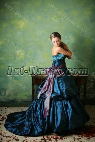 Blue 2013 Gothic Wedding Dresses with Sash
