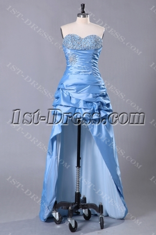 Blue Popular High-low Celebrity Party Dresses
