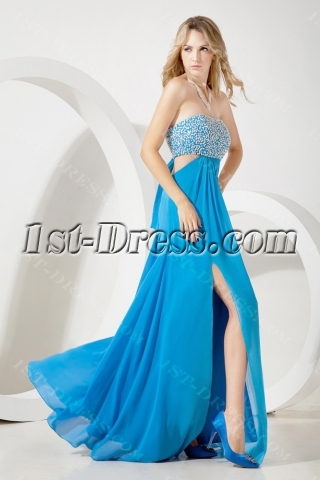 Blue Sexy Evening Gown for Beach