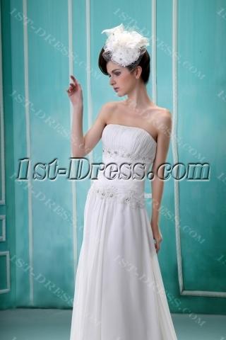 Budget A-Line Strapless Court Train Chiffon Wedding Dress With Ruffle Lace