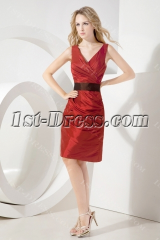 Burgundy Tea-Length Formal Mother of Groom Gown