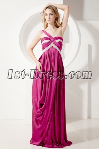 Casual Plus Size Evening Gown with One Shoulder
