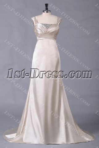 Champagne A-line Beach Bridal Gowns with Straps