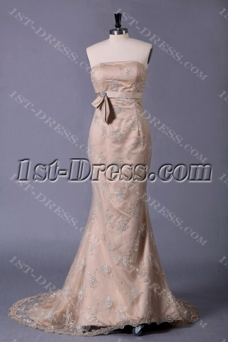 Champagne Lace Sheath Bridal Gowns with Corset Back