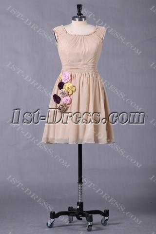 Champagne Short Junior Prom Dress for Summer
