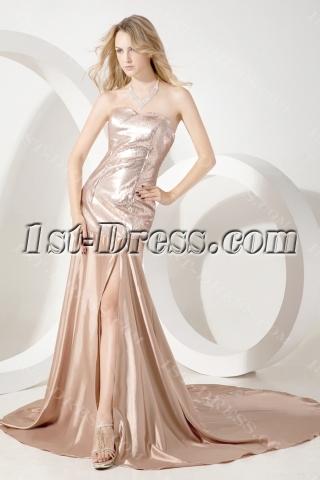 Champagne Simple Elegant Celebrity Dress