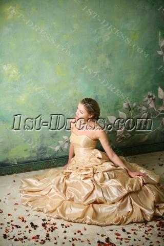Champagne Taffeta Long Cheap Quinceanera Gown