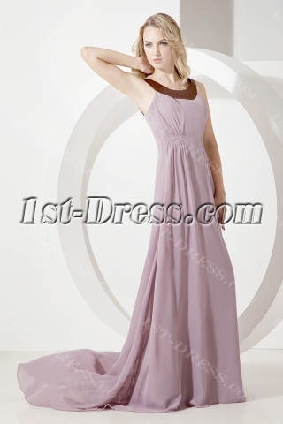 Cheap Lilac Scoop Chiffon Mother of Brides Dress