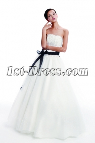 Cheap Simple Wedding Dress with Black Sash