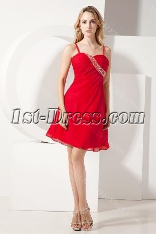 Chiffon Cute Red Mini Homecoming Dress