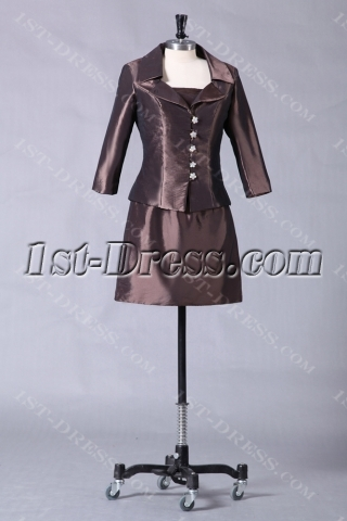 Chocolate Short Mother of Groom Gown with Long Sleeve Jacket