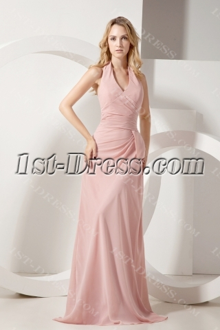 Coral Halter Chiffon Modest Bridesmaid Gowns
