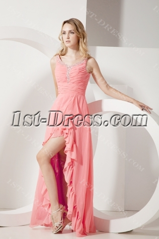Coral Scoop Plus Size Cocktail Dresses with High-low Hem