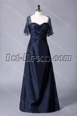 Dark Navy Modest Plus Size with Lace Sleeves
