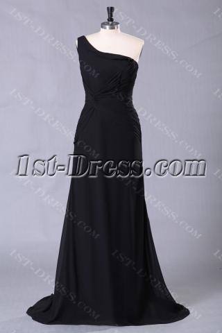 Elegant Black One Shoulder Celebrity Gowns