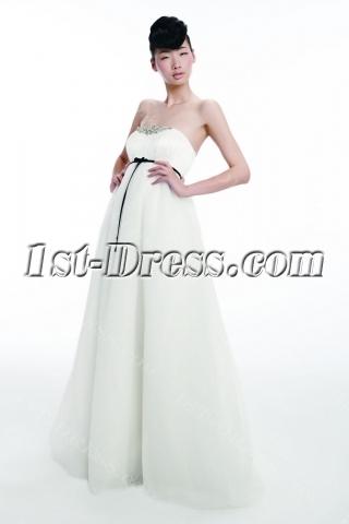 Elegant Organza Empire Bridal Gown with Black