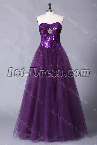 Grape Sequins Pretty Quinceanera Dress with Sweetheart