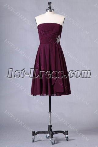 Grape Strapless Short Plus Size Bridesmaid Dresses