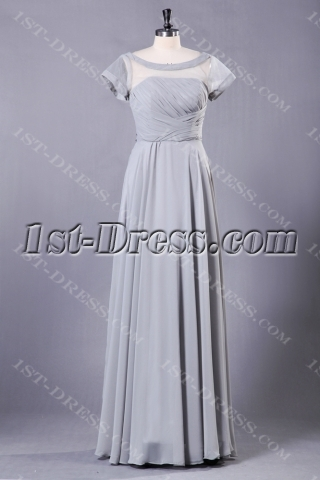 Gray Modest Long Mother of Groom Dress with Sleeves