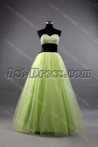 Green and Black Long Terrific 15 Quinceanera Dresses