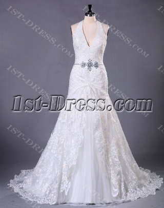 Halter Brilliant Lace Plus Size Bridal Gown