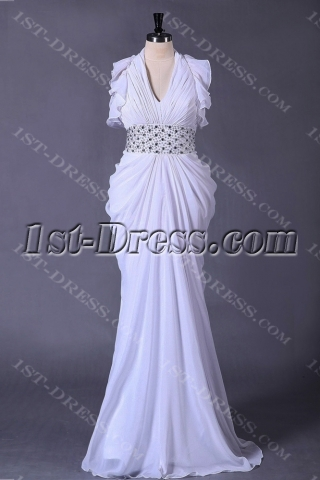 Halter Plus Size Beach Bridal Gown with Low Back