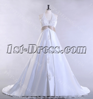 Halter Traditional Plus Size Bridal Gown with A-line
