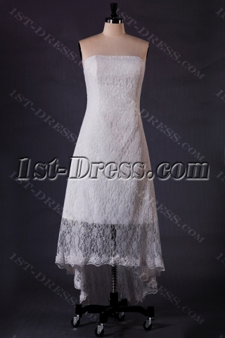 Ivory Lace High-low Bridal Dress for Summer